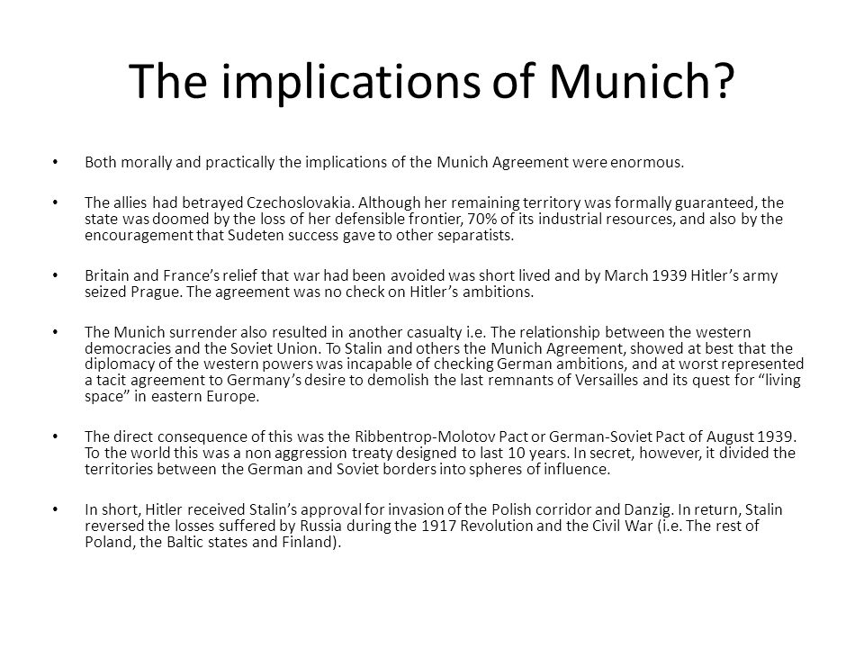 The implications of Munich