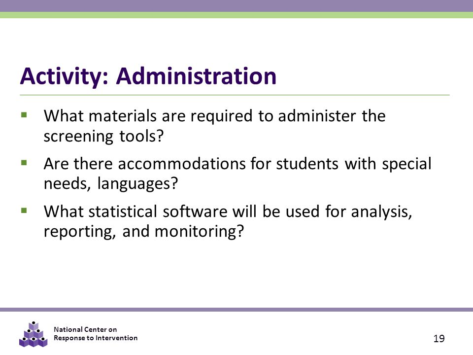 Activity: Administration