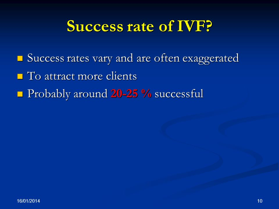 Success rate of IVF Success rates vary and are often exaggerated
