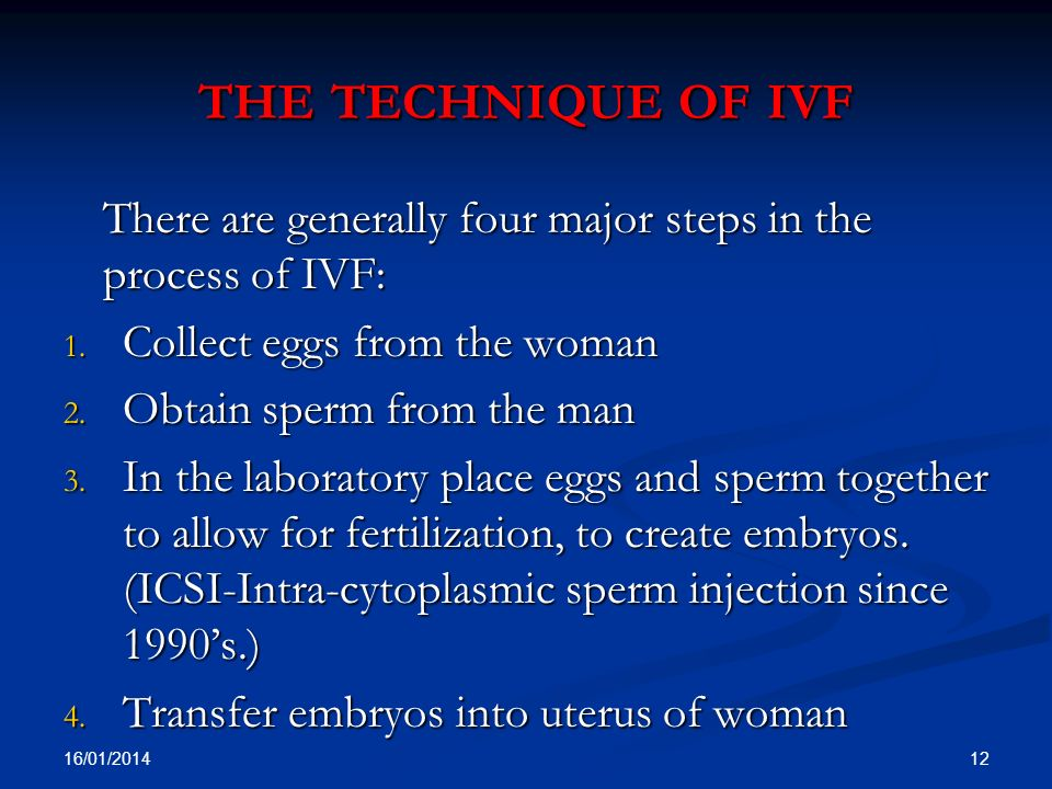 the technique of ivf There are generally four major steps in the process of IVF: Collect eggs from the woman.