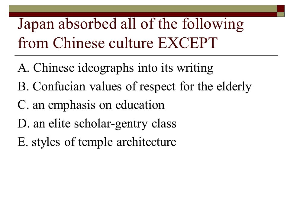 Japan absorbed all of the following from Chinese culture EXCEPT