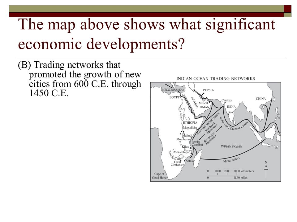 The map above shows what significant economic developments