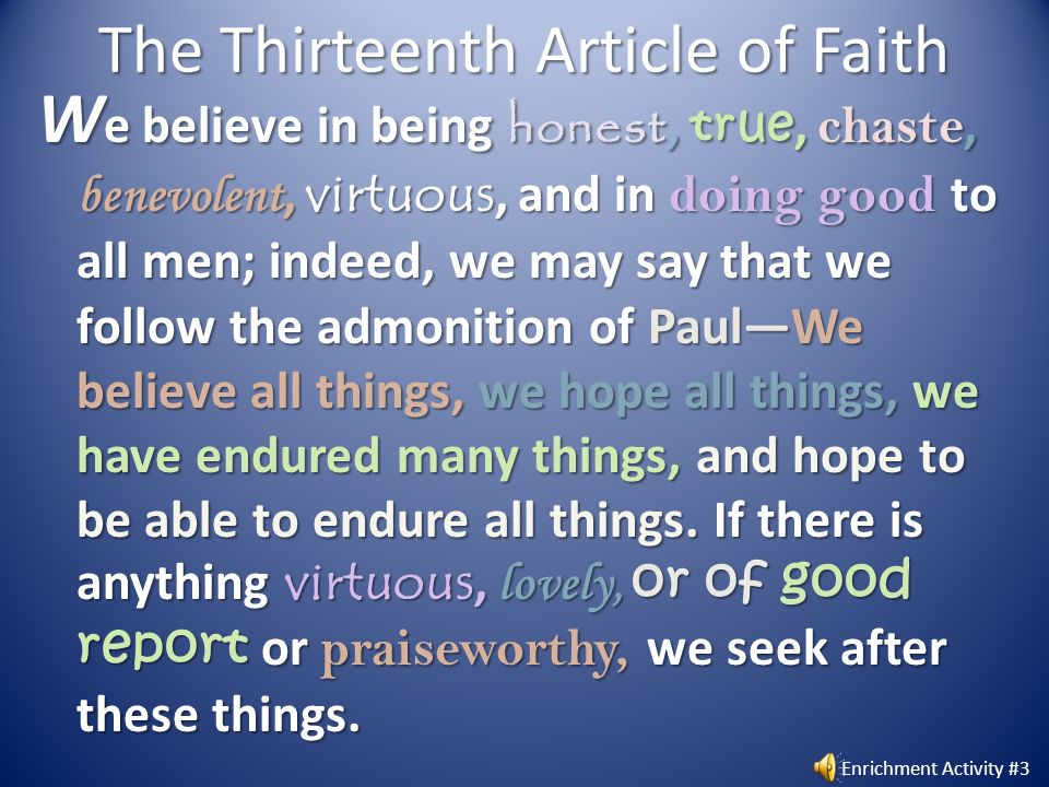 The Thirteenth Article of Faith
