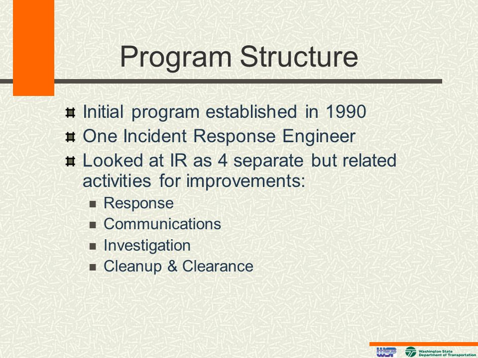 Program Structure Initial program established in 1990