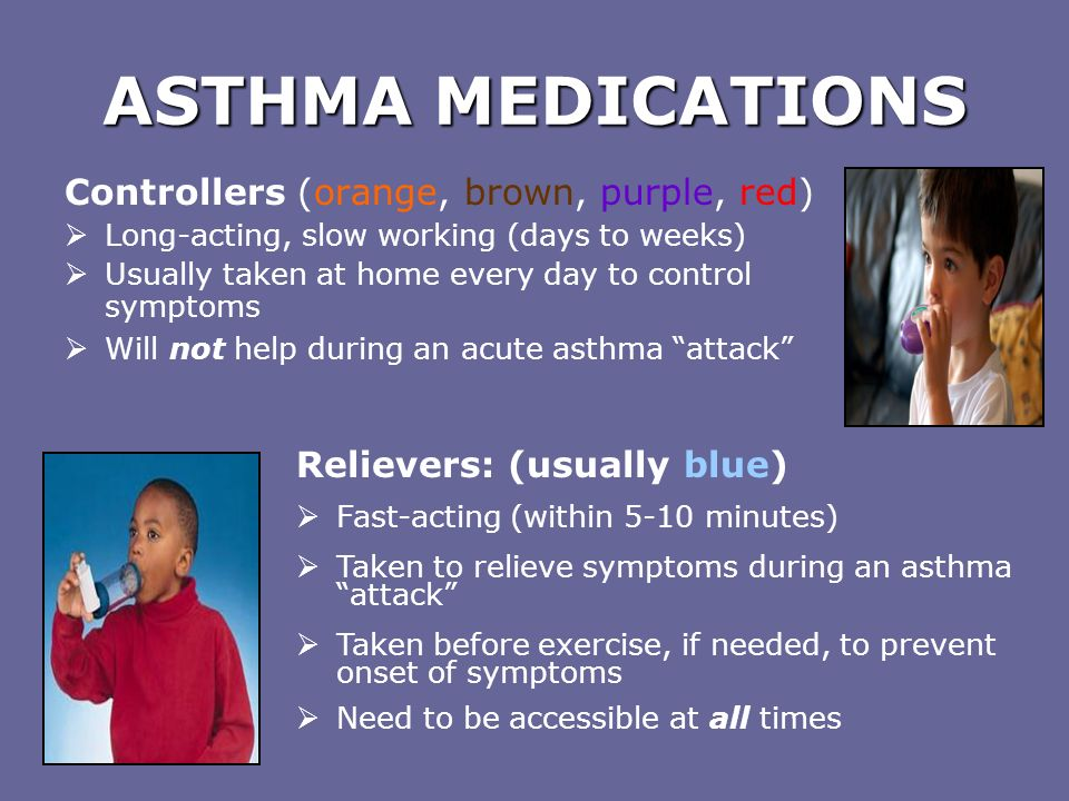 ASTHMA MEDICATIONS Controllers (orange, brown, purple, red)