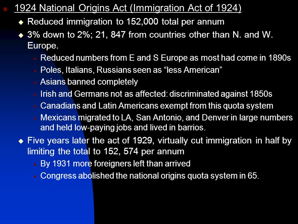 1924 National Origins Act (Immigration Act of 1924)