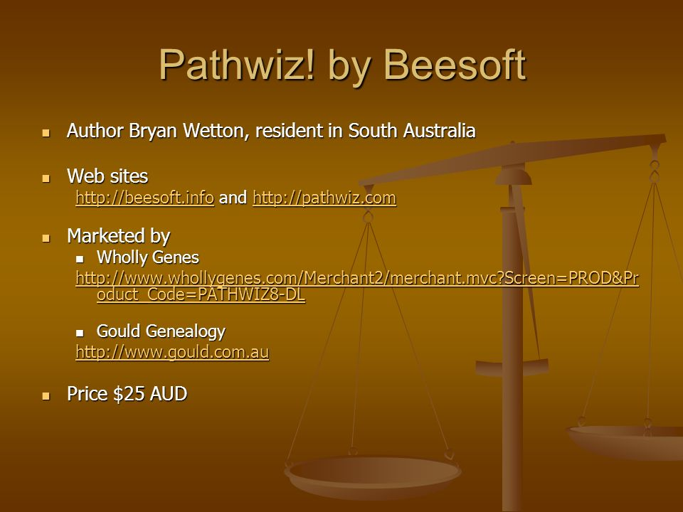 Pathwiz! by Beesoft Author Bryan Wetton, resident in South Australia