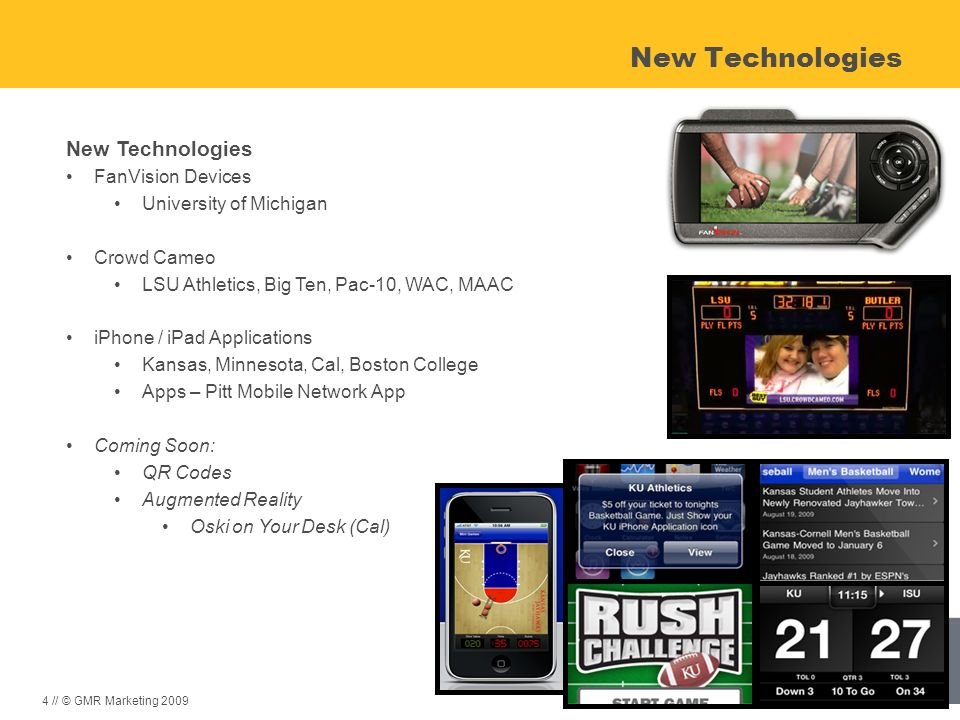 New Technologies New Technologies FanVision Devices