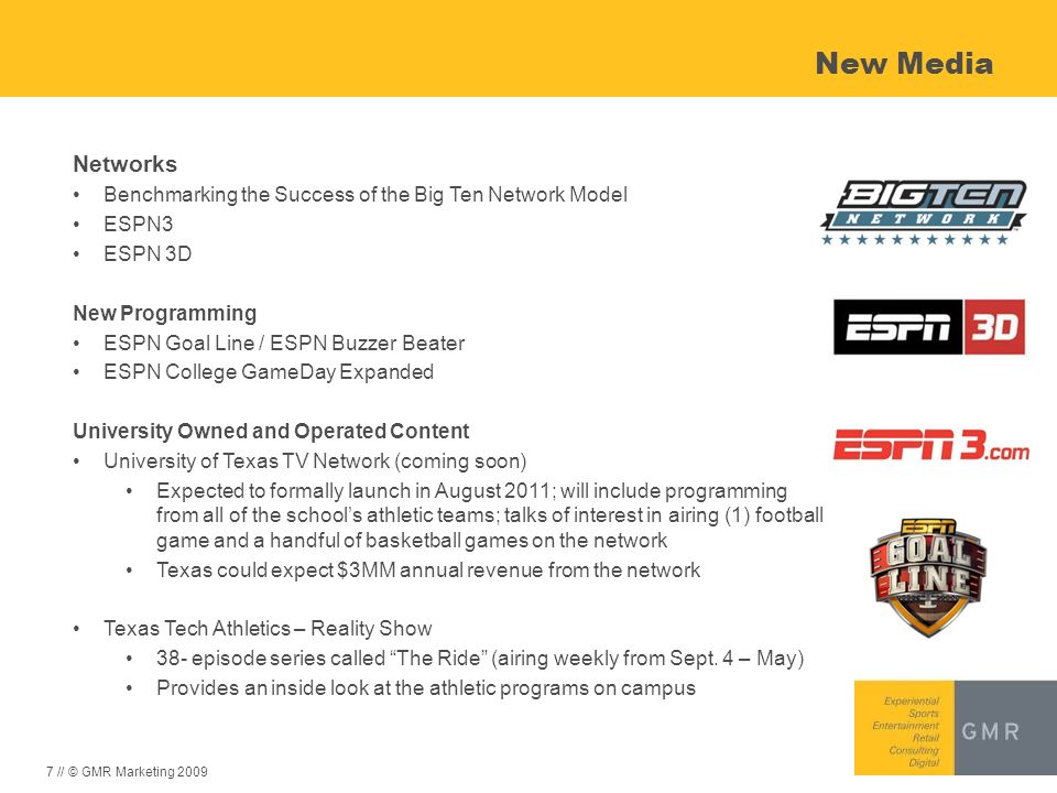 New Media Networks. Benchmarking the Success of the Big Ten Network Model. ESPN3. ESPN 3D. New Programming.