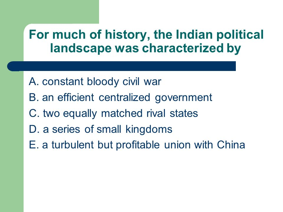 For much of history, the Indian political landscape was characterized by