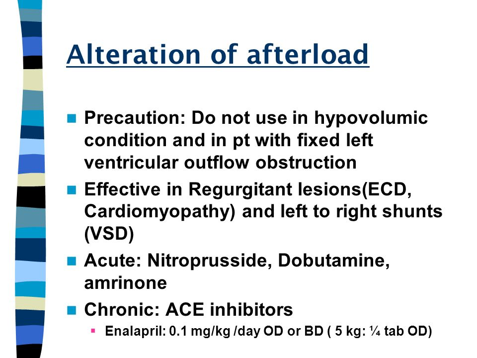Alteration of afterload