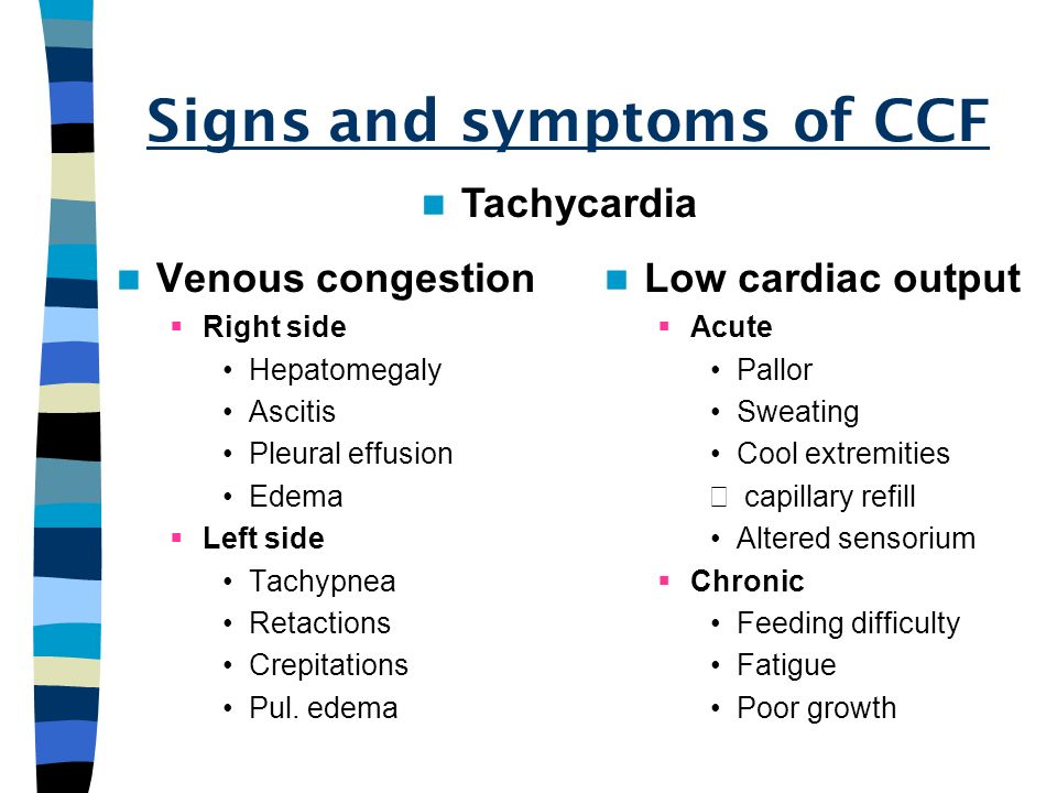 Signs and symptoms of CCF