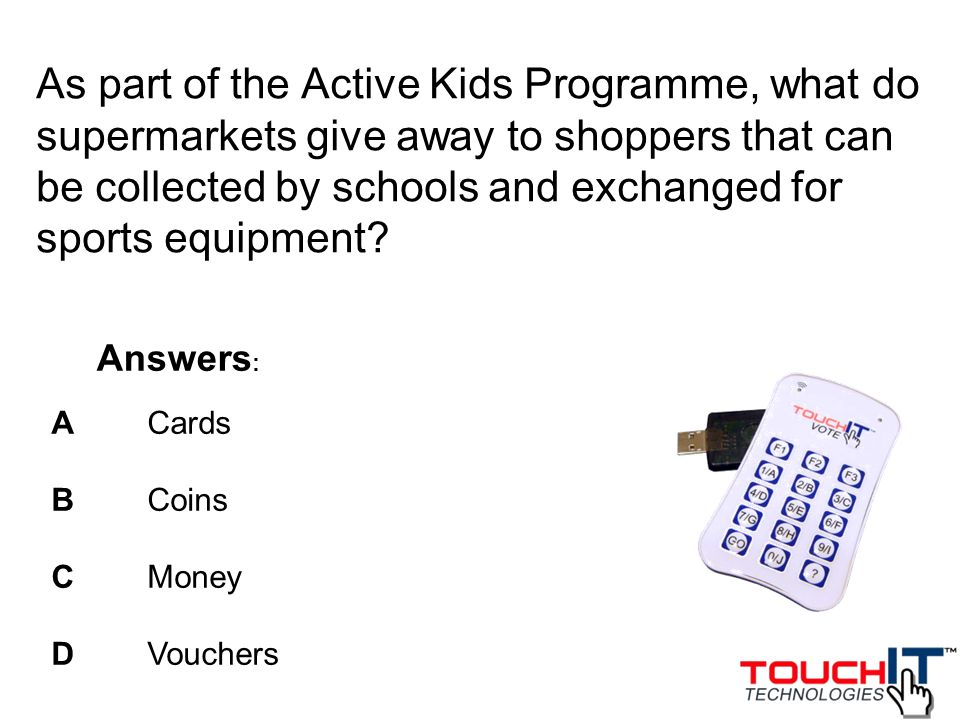 As part of the Active Kids Programme, what do supermarkets give away to shoppers that can be collected by schools and exchanged for sports equipment