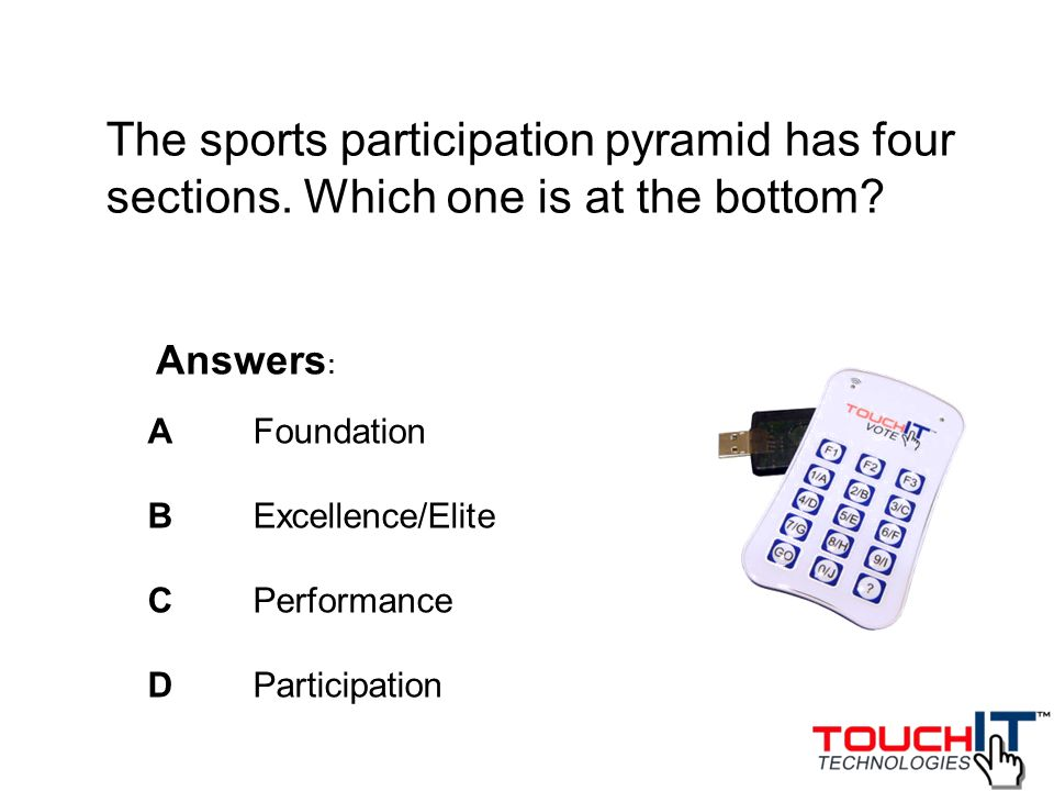 The sports participation pyramid has four sections