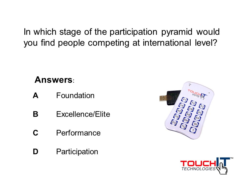 In which stage of the participation pyramid would you find people competing at international level
