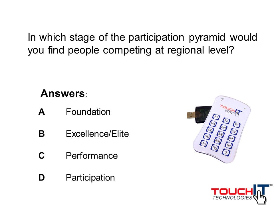 In which stage of the participation pyramid would you find people competing at regional level