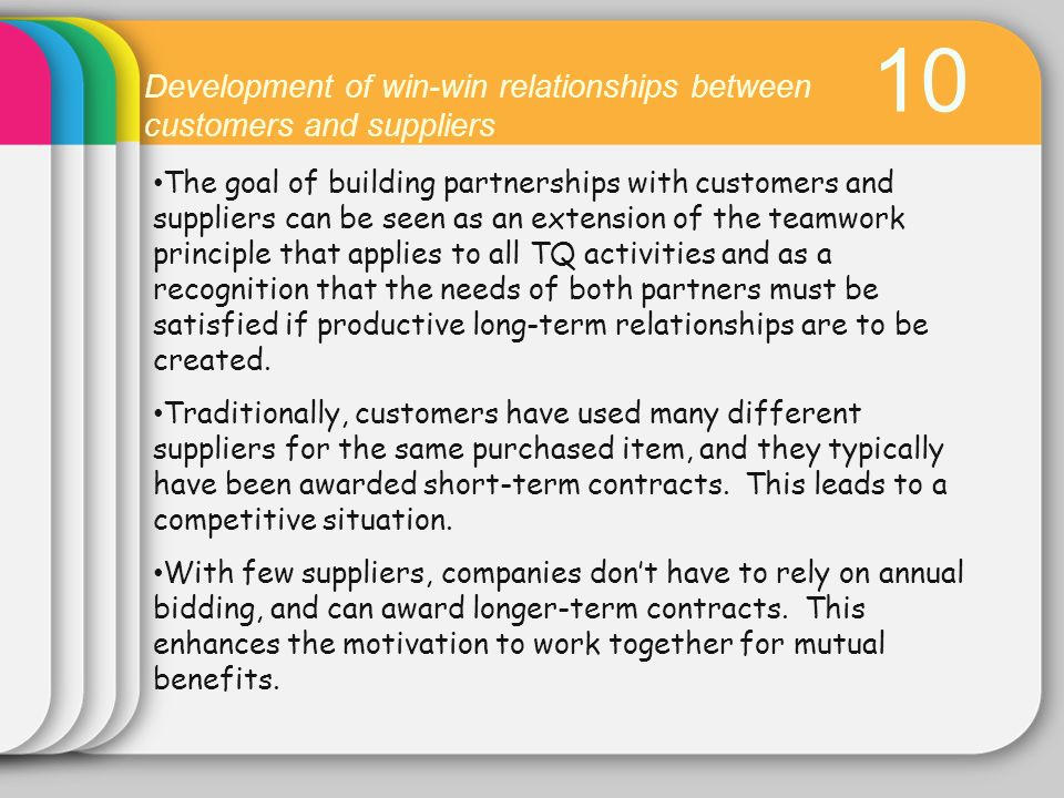 10 Development of win-win relationships between customers and suppliers.