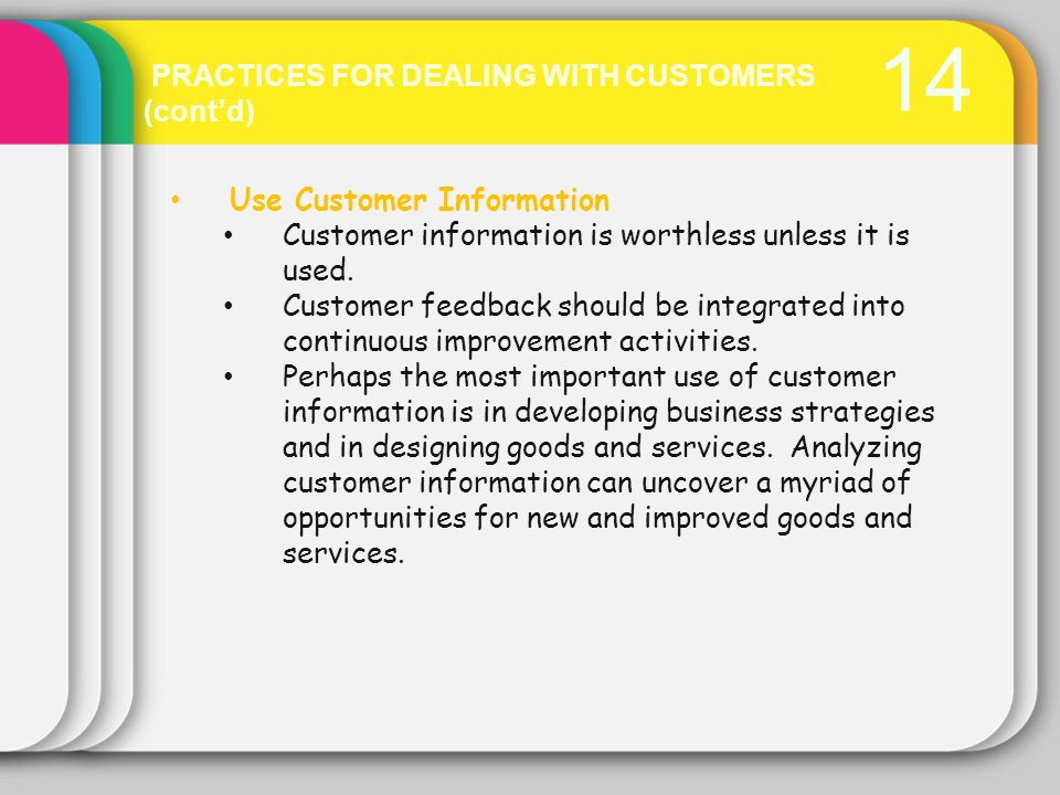 14 PRACTICES FOR DEALING WITH CUSTOMERS (cont'd)
