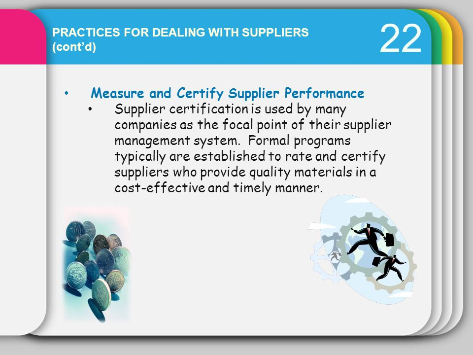 22 Measure and Certify Supplier Performance