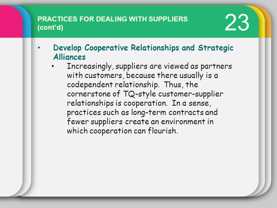 23 Develop Cooperative Relationships and Strategic Alliances