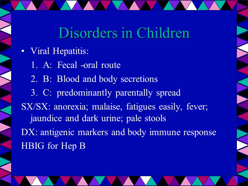 Disorders in Children Viral Hepatitis: 1. A: Fecal -oral route