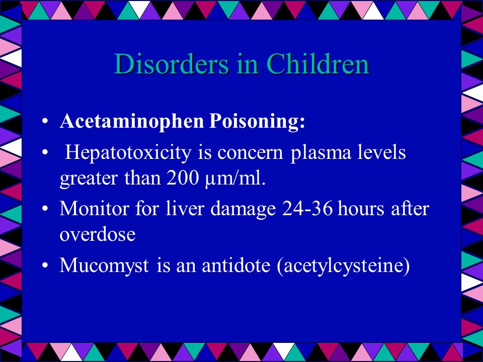 Disorders in Children Acetaminophen Poisoning: