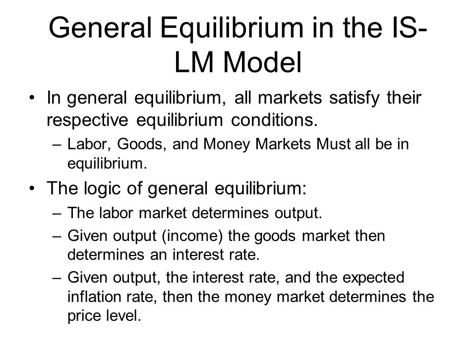 General Equilibrium in the IS-LM Model