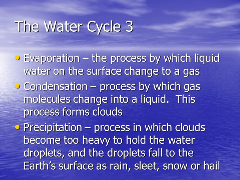 The Water Cycle 3 Evaporation – the process by which liquid water on the surface change to a gas.