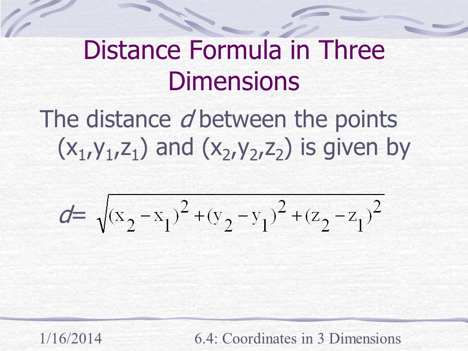 Distance Formula in Three Dimensions