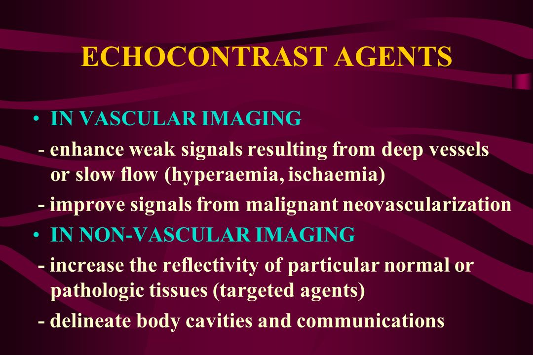 ECHOCONTRAST AGENTS IN VASCULAR IMAGING