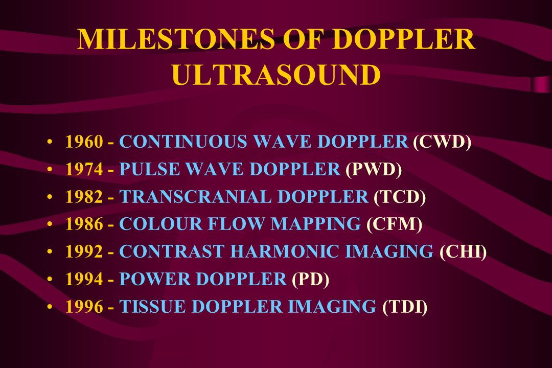 MILESTONES OF DOPPLER ULTRASOUND