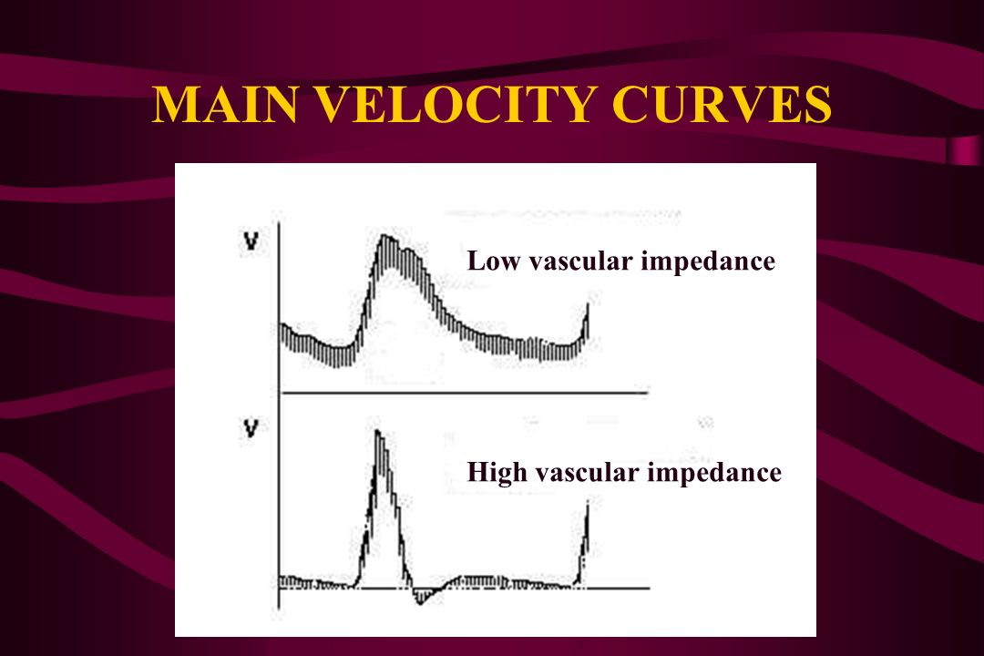 MAIN VELOCITY CURVES Low vascular impedance High vascular impedance
