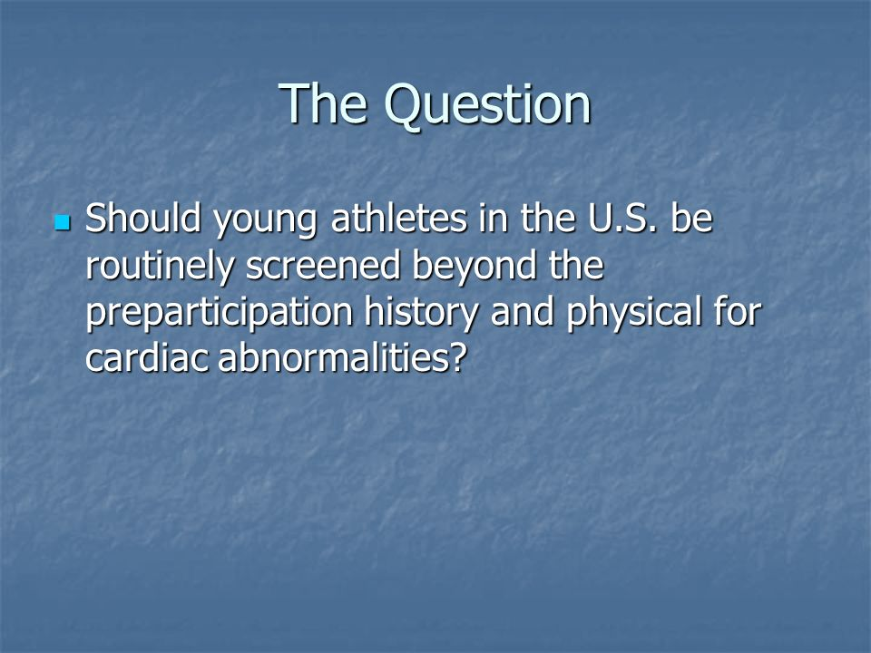 The Question Should young athletes in the U.S.