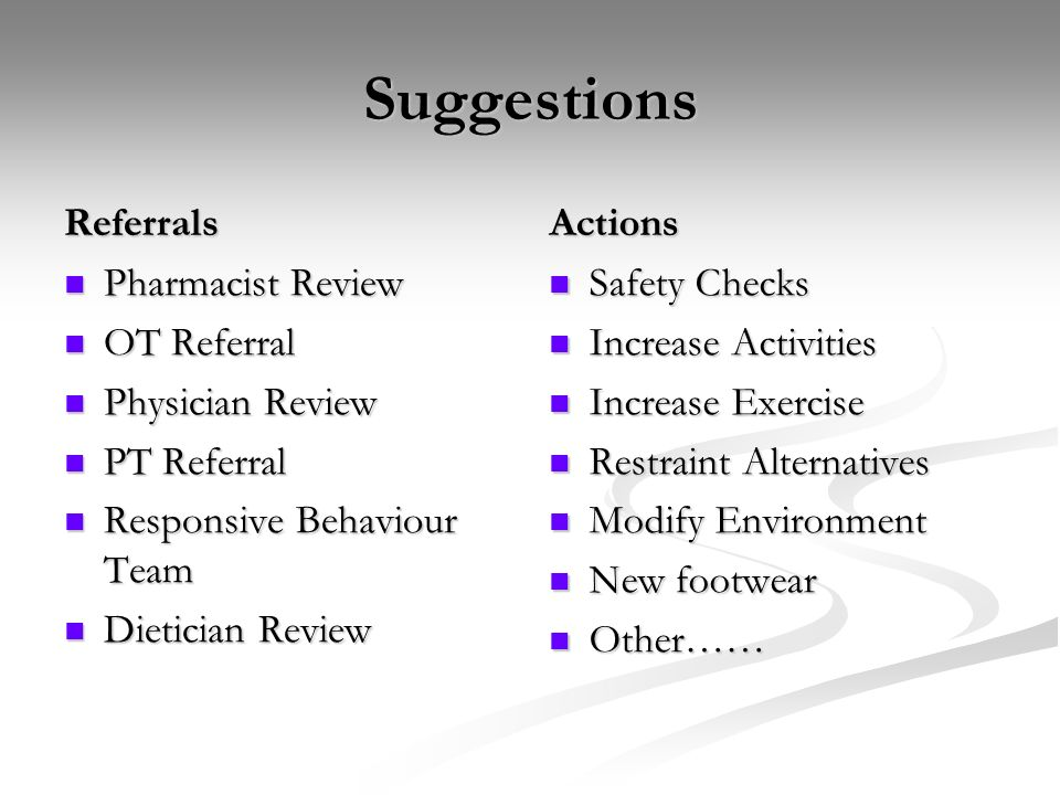 Suggestions Referrals Actions Pharmacist Review OT Referral