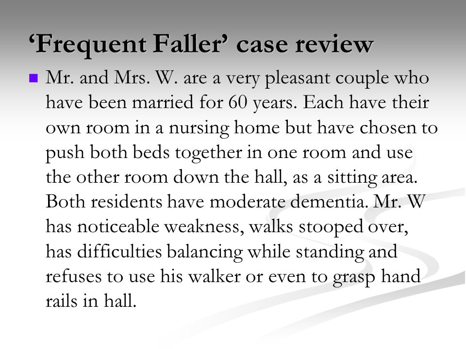 'Frequent Faller' case review