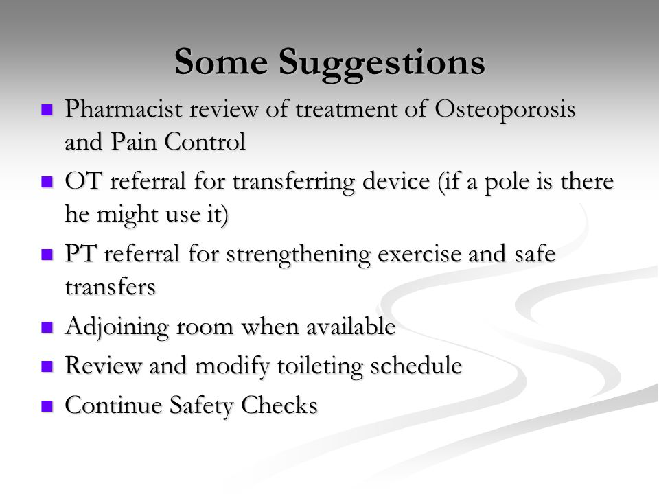 Some Suggestions Pharmacist review of treatment of Osteoporosis and Pain Control.