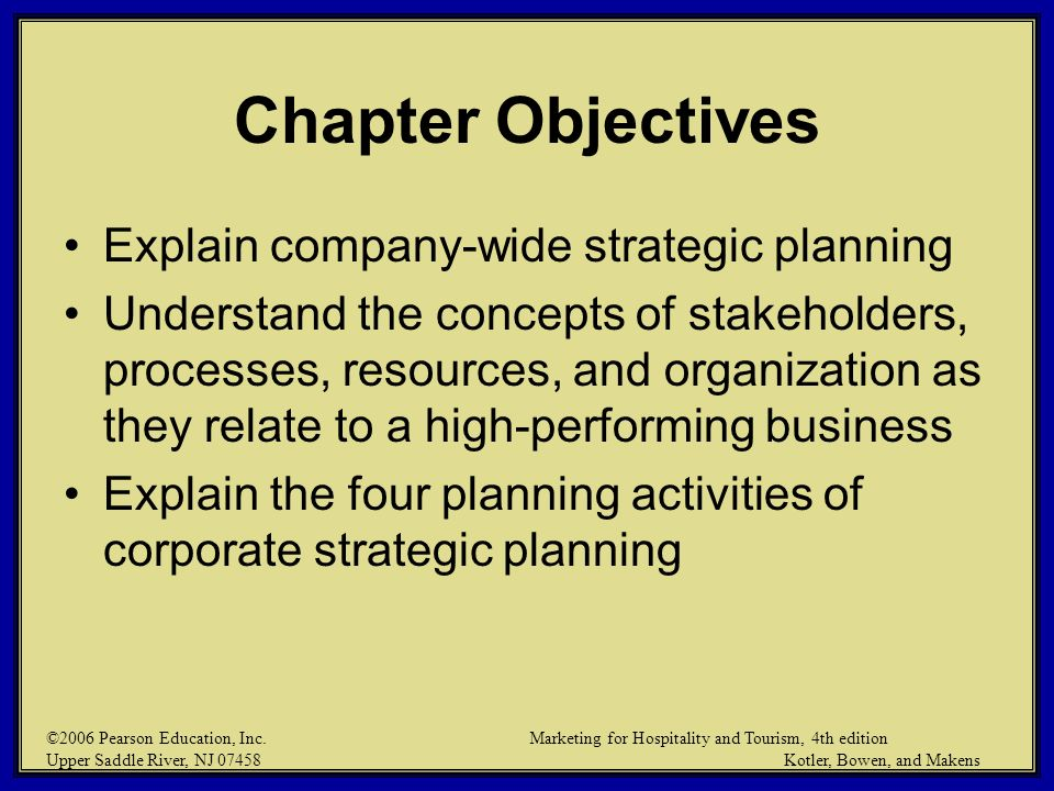 Chapter Objectives Explain company-wide strategic planning