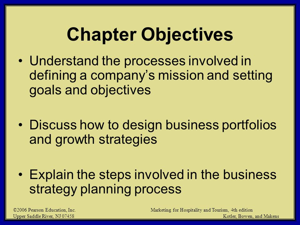 Chapter Objectives Understand the processes involved in defining a company's mission and setting goals and objectives.