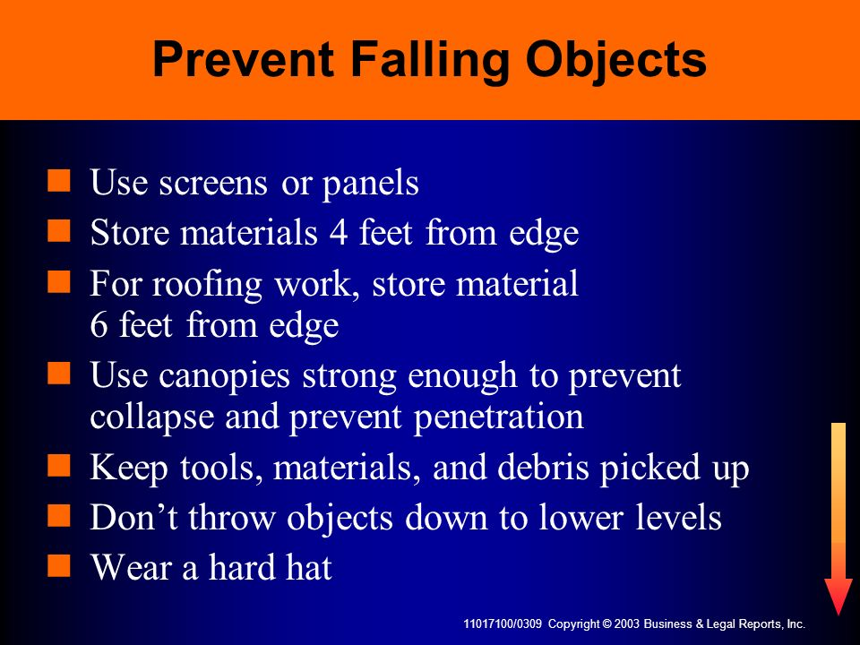 Prevent Falling Objects