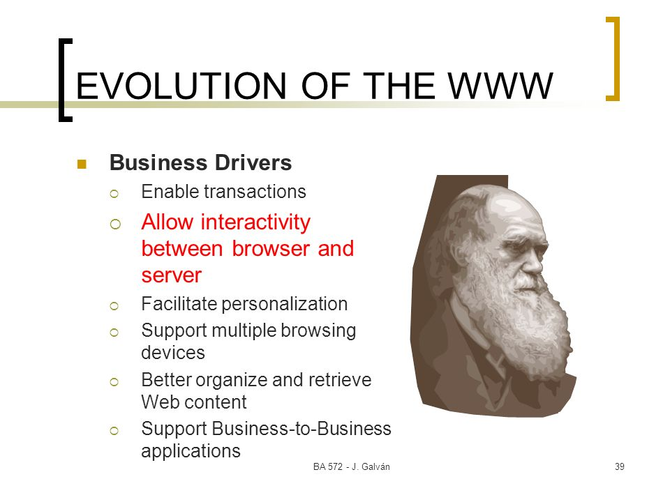 EVOLUTION OF THE WWW Business Drivers