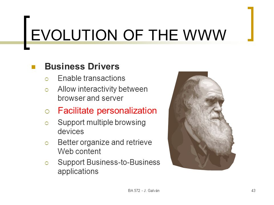 EVOLUTION OF THE WWW Business Drivers Facilitate personalization