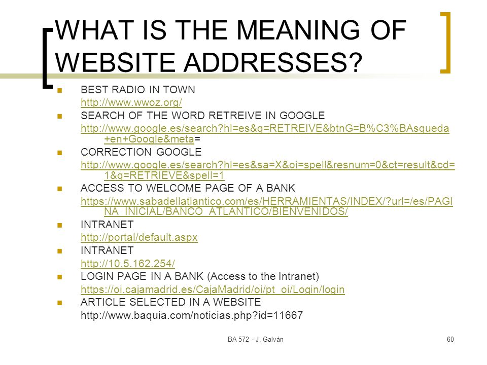 WHAT IS THE MEANING OF WEBSITE ADDRESSES