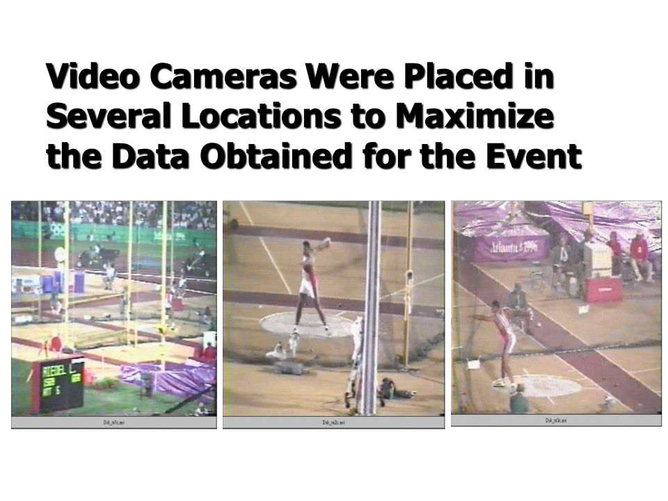 Video Cameras Were Placed in Several Locations to Maximize the Data Obtained for the Event