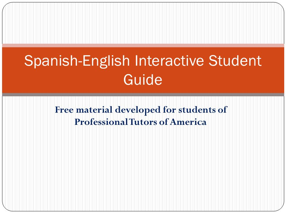 Spanish-English Interactive Student Guide