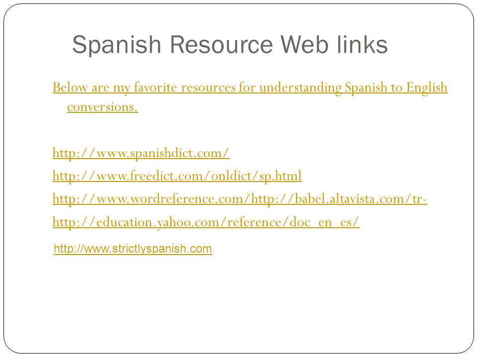 Spanish Resource Web links