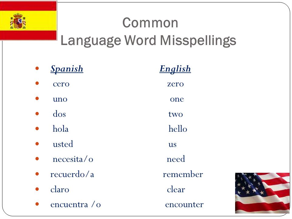 Common Language Word Misspellings