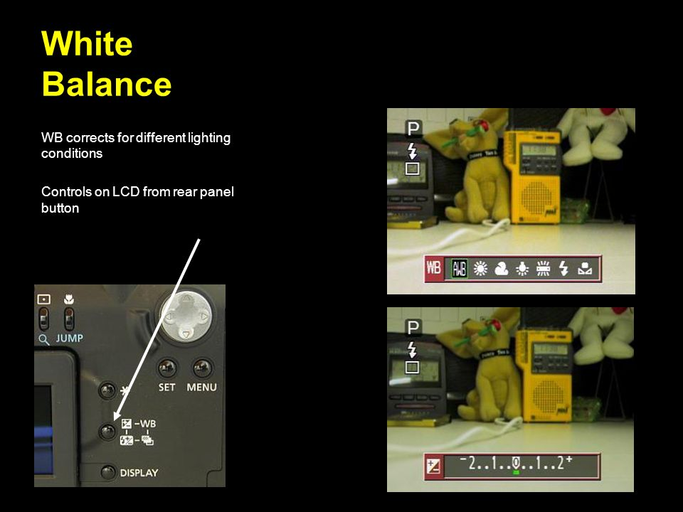 White Balance WB corrects for different lighting conditions
