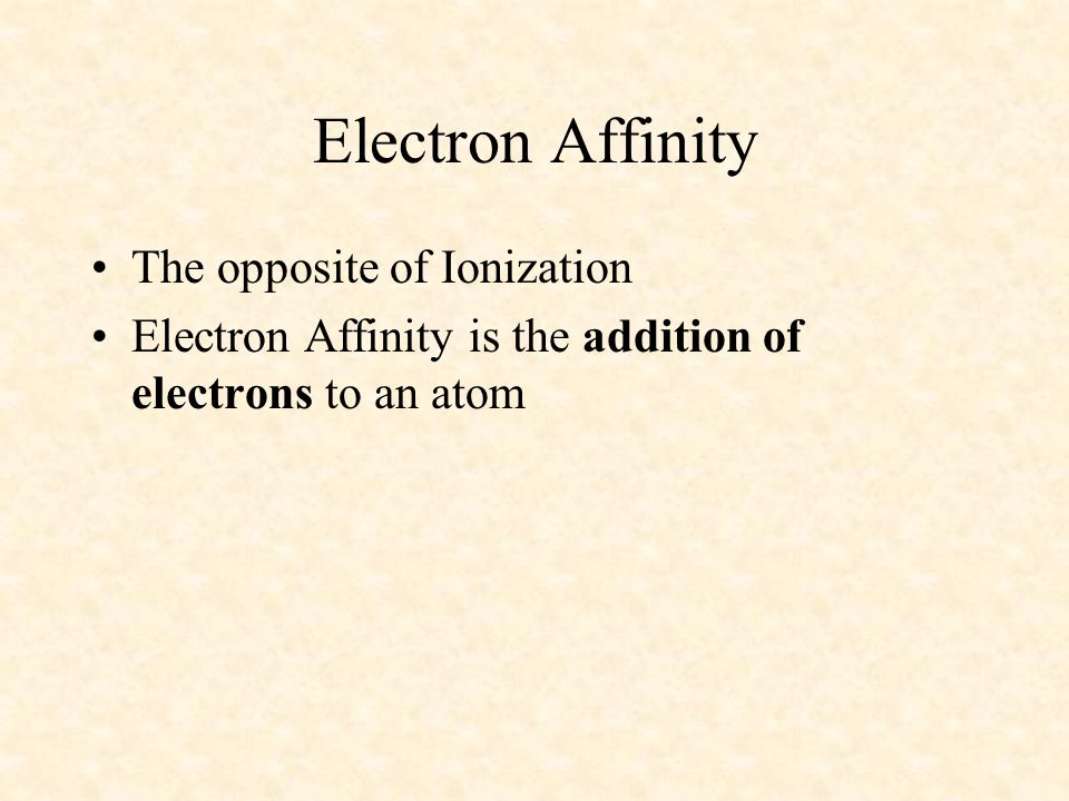 Electron Affinity The opposite of Ionization