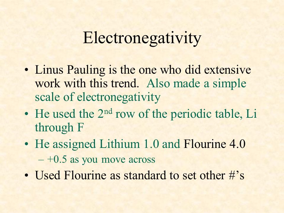 04/10/99 Electronegativity. Linus Pauling is the one who did extensive work with this trend. Also made a simple scale of electronegativity.
