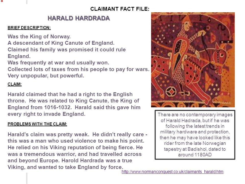 HARALD HARDRADA CLAIMANT FACT FILE:
